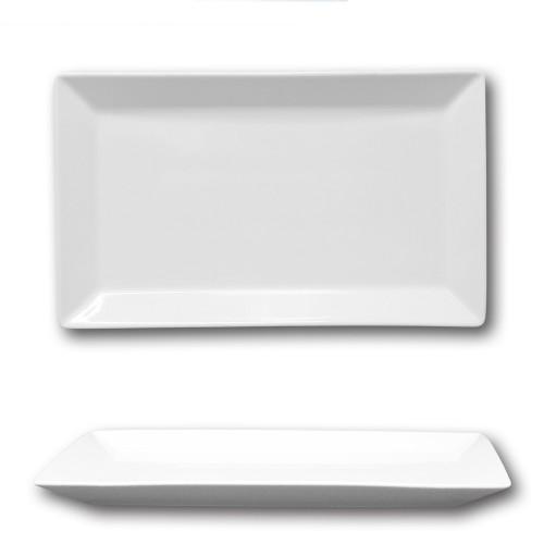 Assiette rectangulaire porcelaine blanche - L 33 cm - Kimi