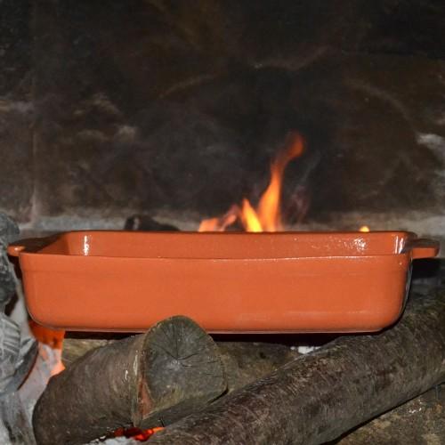 Plat de cuisson rectangulaire terre cuite