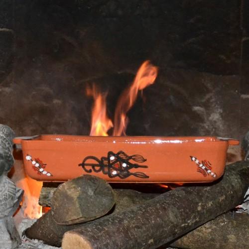 Plat de cuisson rectangulaire terre cuite décorée