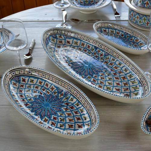 Plat ovale Jileni turquoise - L 20 cm