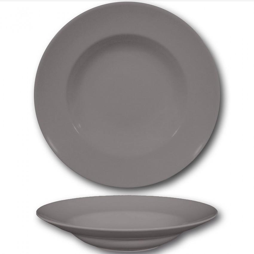 Lot de 6 assiettes à pâtes Gris - D 26 cm - Napoli