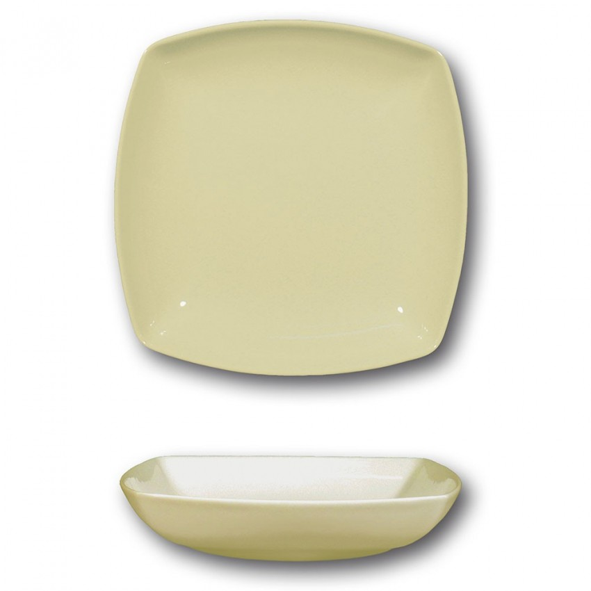 Lot de 6 assiettes creuses porcelaine italienne Crème - L 21 cm - Tokio