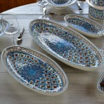 Plat ovale Bakir turquoise - L 40 cm