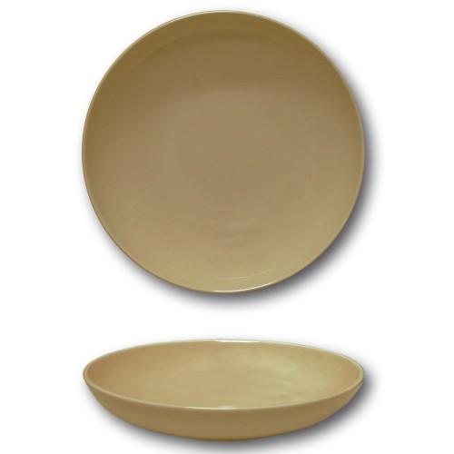 Lot 6 assiettes creuses porcelaine couleur Marron - D 22 cm - Siviglia