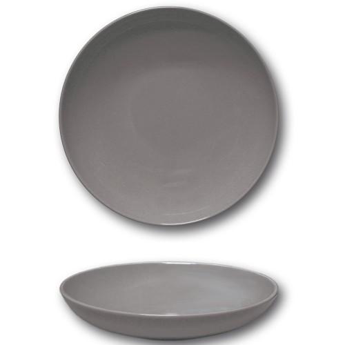 Lot 6 assiettes creuses porcelaine Gris - D 22 cm - Siviglia