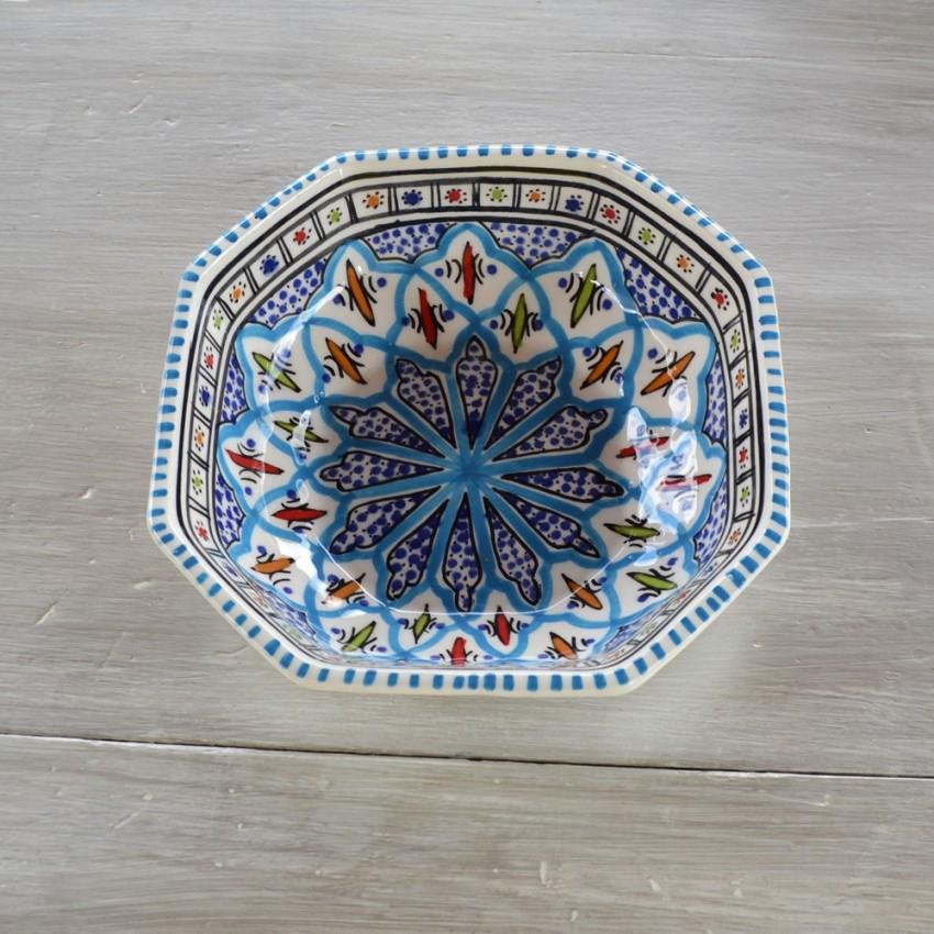 Plat octogonal Bakir turquoise - L 11 cm