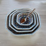 Plat octogonal Bakir turquoise - L 25 cm