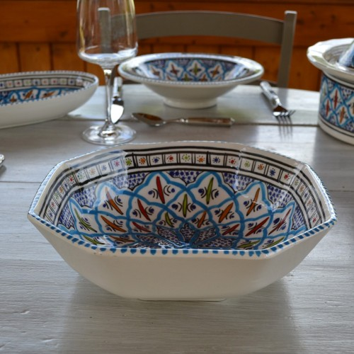 Plat octogonal Bakir turquoise - L 16 cm