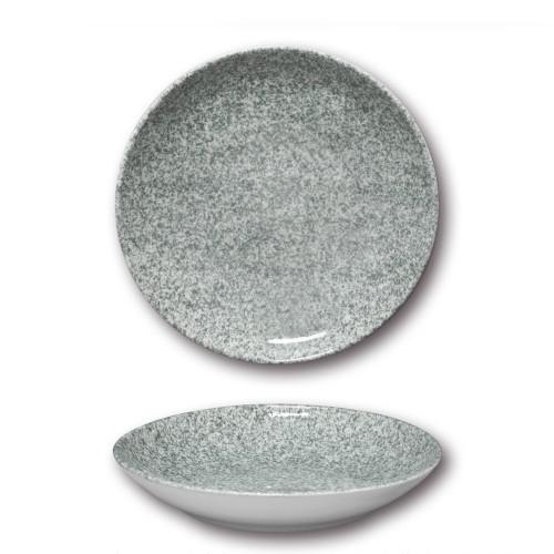 Lot de 6 assiettes à couscous porcelaine - D 26 cm - Moucheté gris