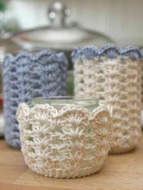 Customisation de bocaux avec du crochet